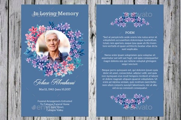 genral funeral prayer card template