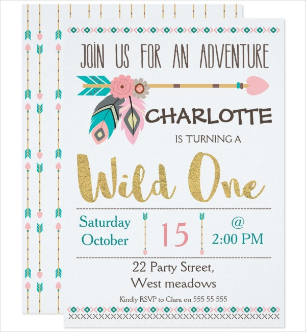 girls first birthday tribal invitation template