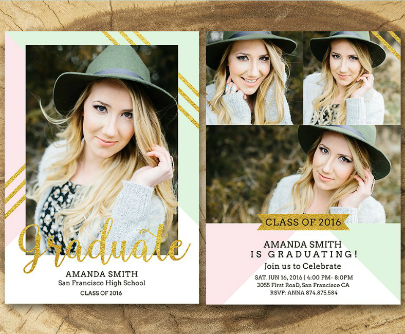 Glittery Senior Graduation Party Announcement Card