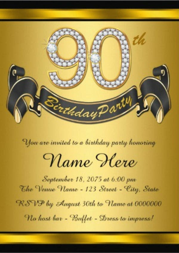 gold 90th birthday party card1