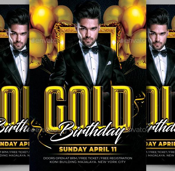 gold birthday flyer design