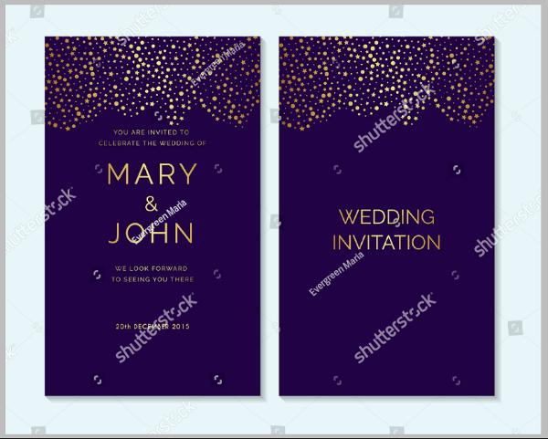 gold confetti purple wedding invitation template