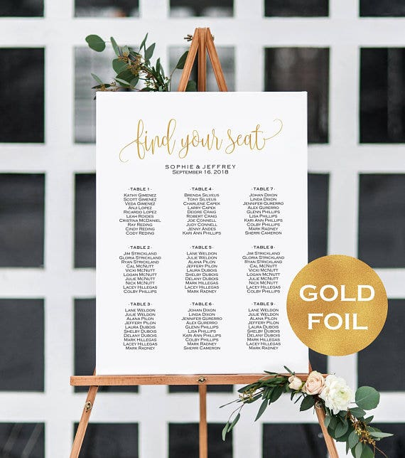 gold foil wedding seating chart
