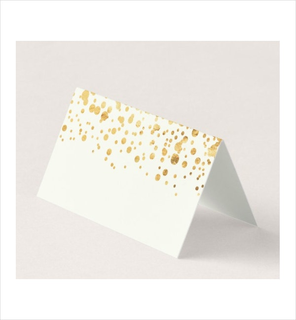 Gold Glitter Confetti Wedding Place Card