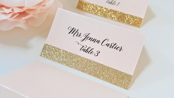goldglitterweddingplacecards