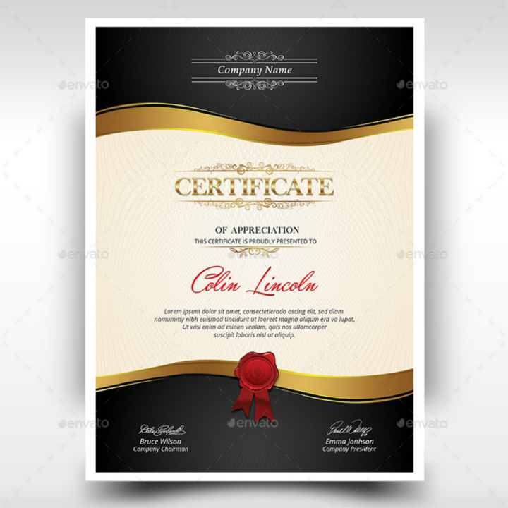 gold trim company degree certificate template