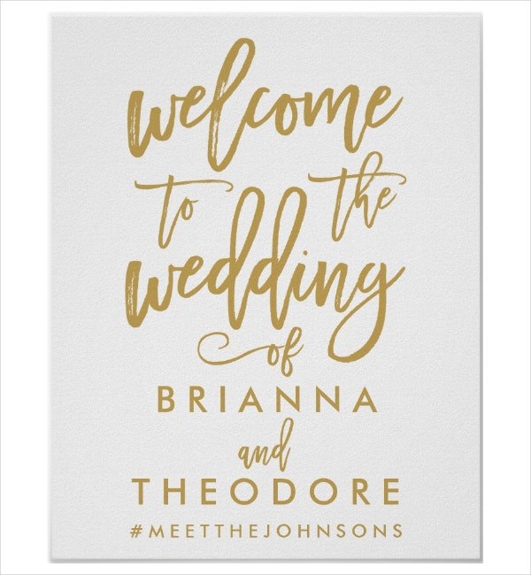 gold welcome signage template