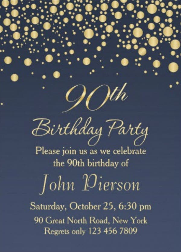 golden confetti 90th birthday party invitation1