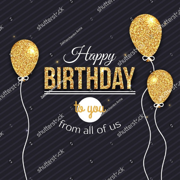 Golden Glittered Balloons Birthday Flyer Template