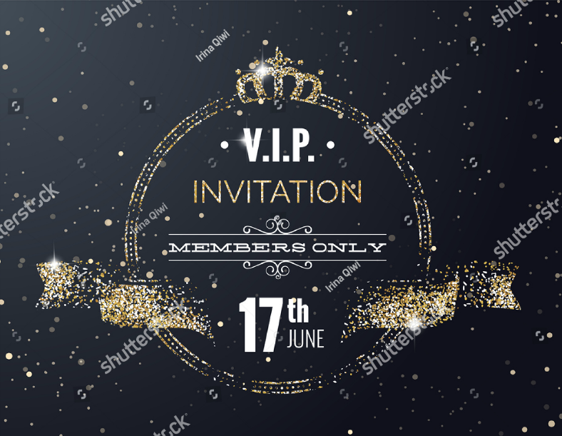 Golden Glitters VIP Invitation Template
