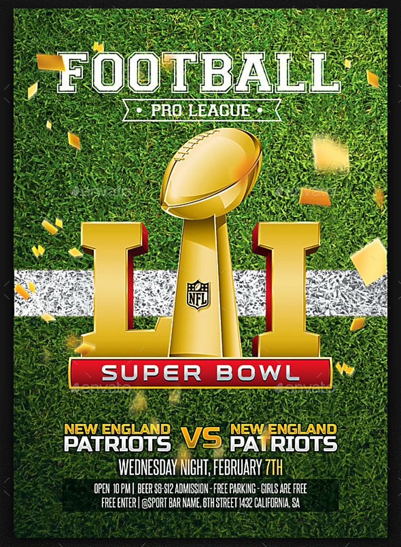 Golden Trophy Super Bowl Flyer Template