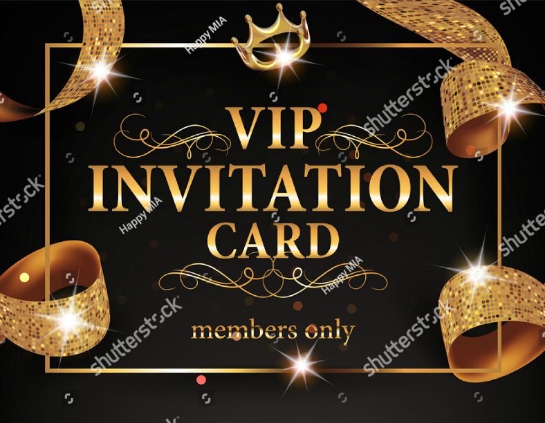 Golden Typographic VIP Invitation Card Template
