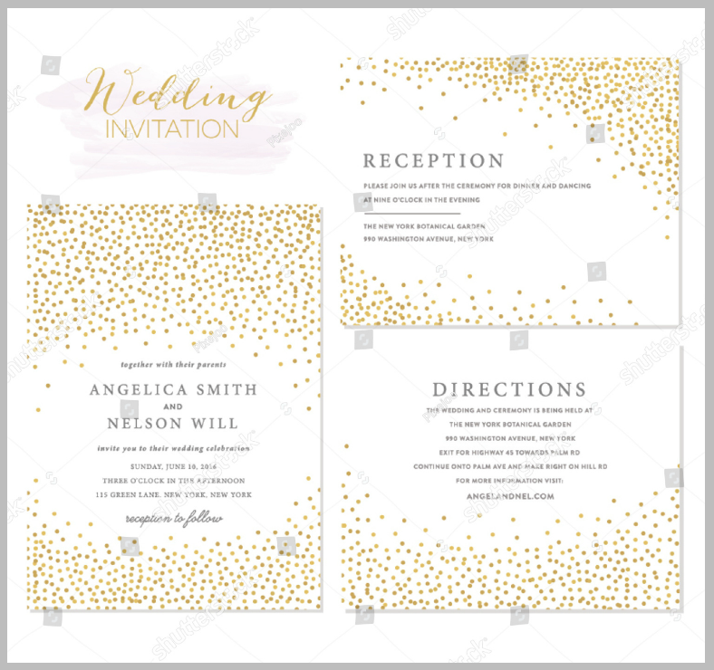 golden wedding confetti invitation template 788x740