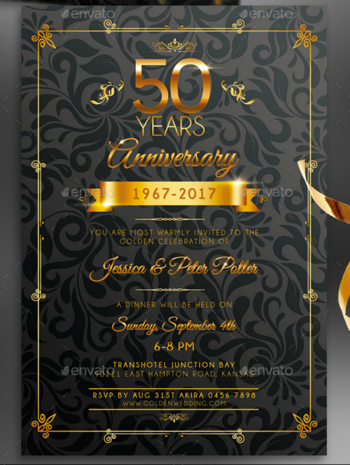 30+ 50th Wedding Anniversary Invitation Designs & Templates - PSD ...
