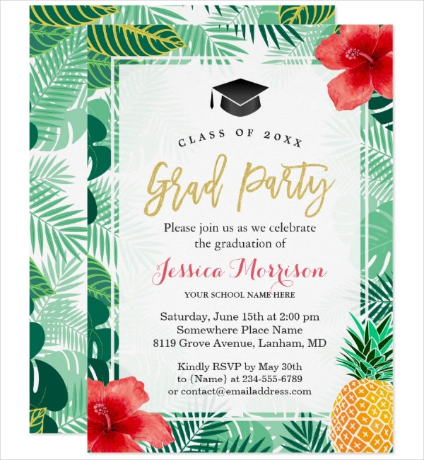 Graduation Luau Invitation Template