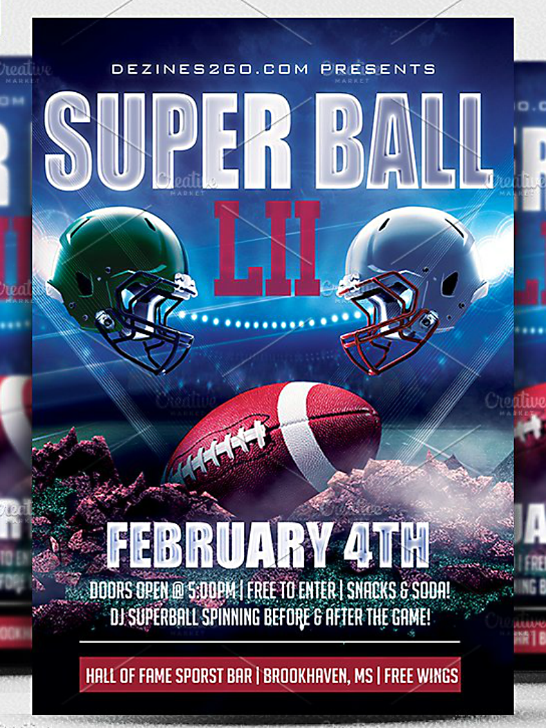grounded football super bowl flyer template 788x1050