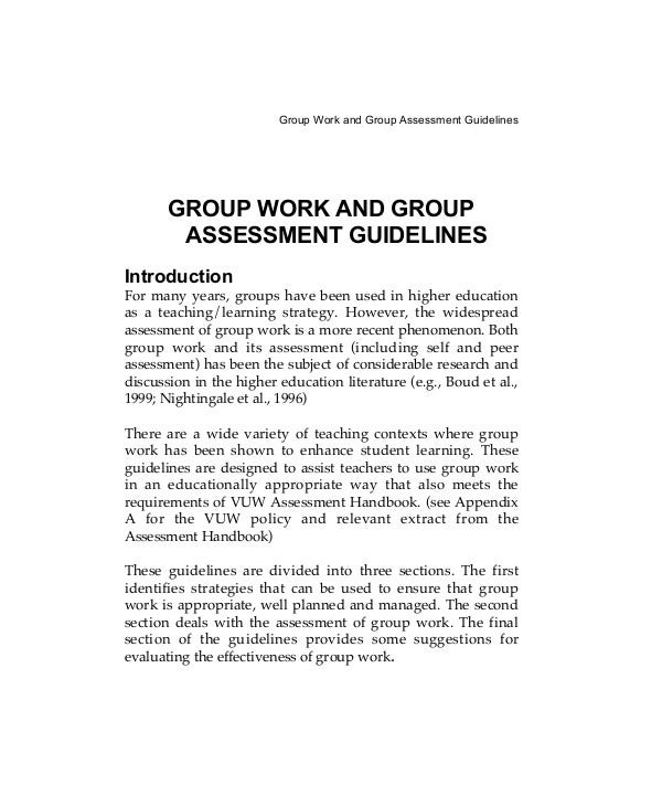 Group Work and Group Assessment
