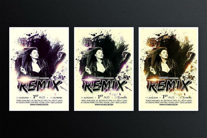 grunge-dj-party-invitation-flyer-template