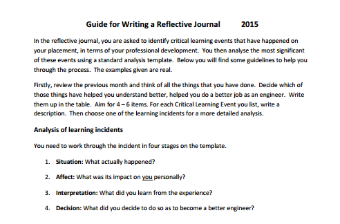 guide to reflective writing
