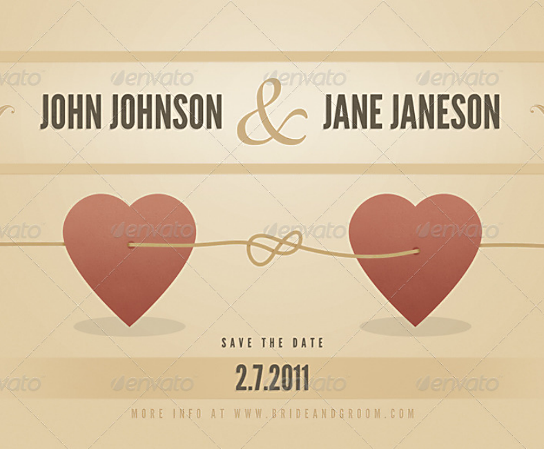 Hearts Vintage Wedding Party Announcement Card