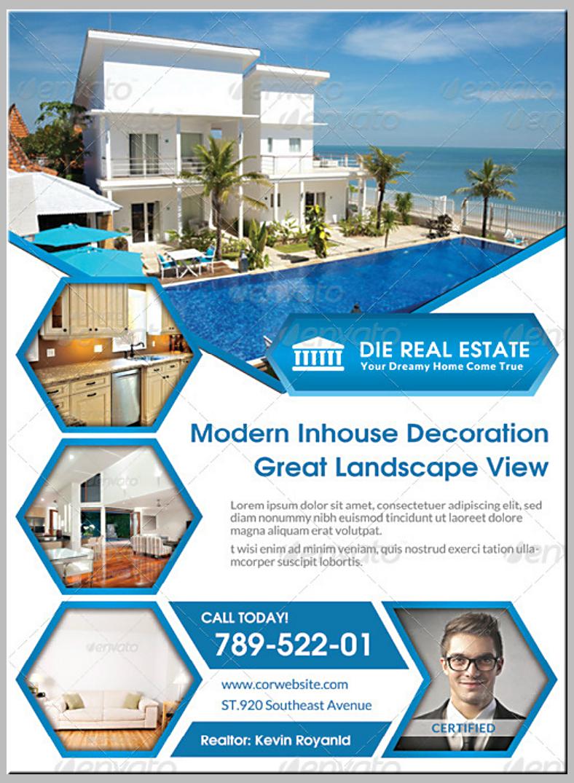 Hexagon Thumbnails Real Estate Flyer Template