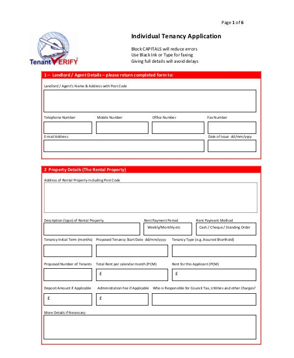 Individual Tenant Application Form