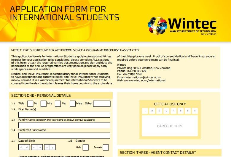 International Student Application Form