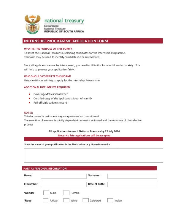 Internship Application Form Templates  Pdf Doc  Free  Premium