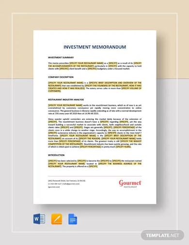 investment memorandum template