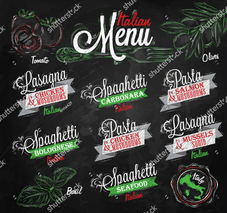 Italian Chalk Art Pasta Menu Template