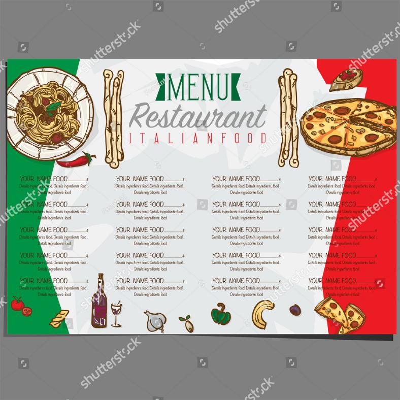 italian flag themed restaurant menu template 788x788