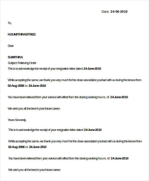job relieving letter doc