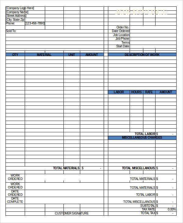 Labor Work Invoice Template