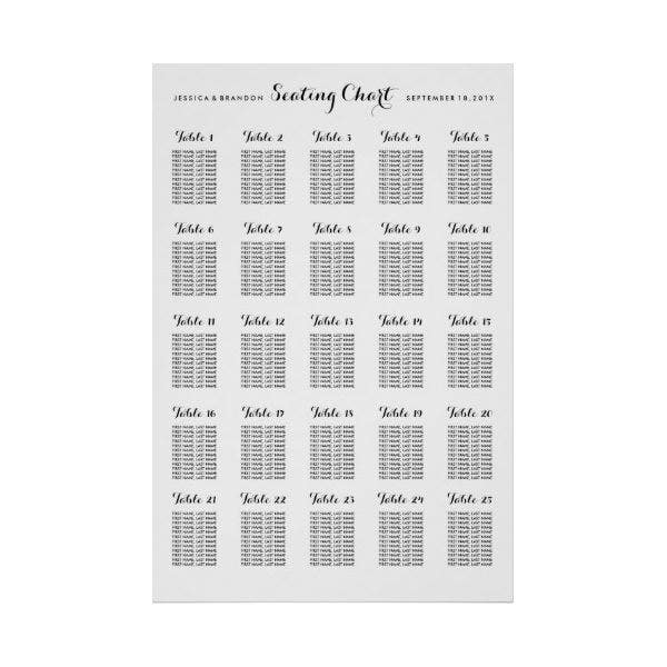 Large Wedding Seating Chart