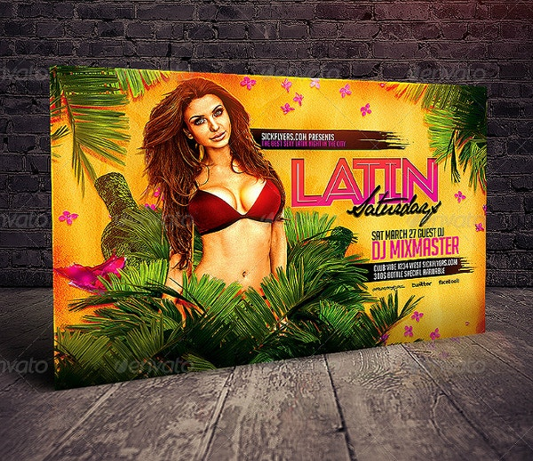 Latin Themed DJ Event Horizontal Flyer Template