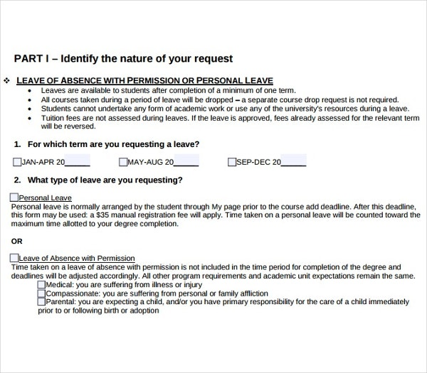leave of absence application template