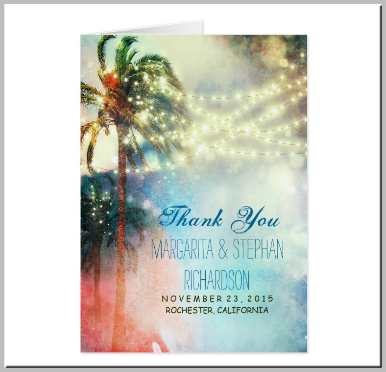 Lights and Palms Beach Thank You Card