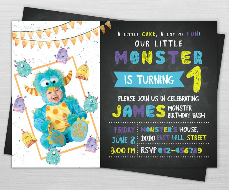 Little Monster Birthday Party Invitation Template