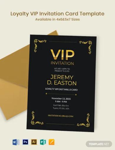 loyalty vip invitation card template
