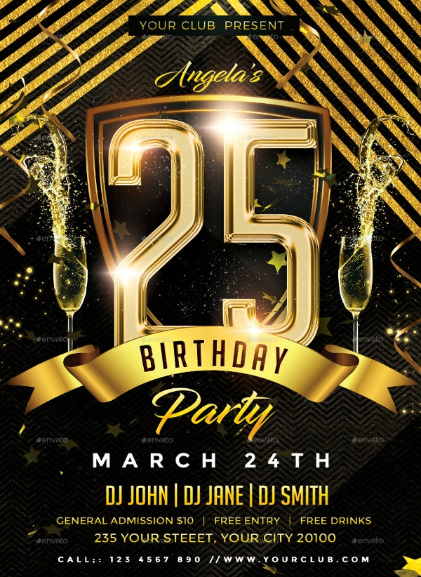 Luxurious Golden Birthday Flyer Template