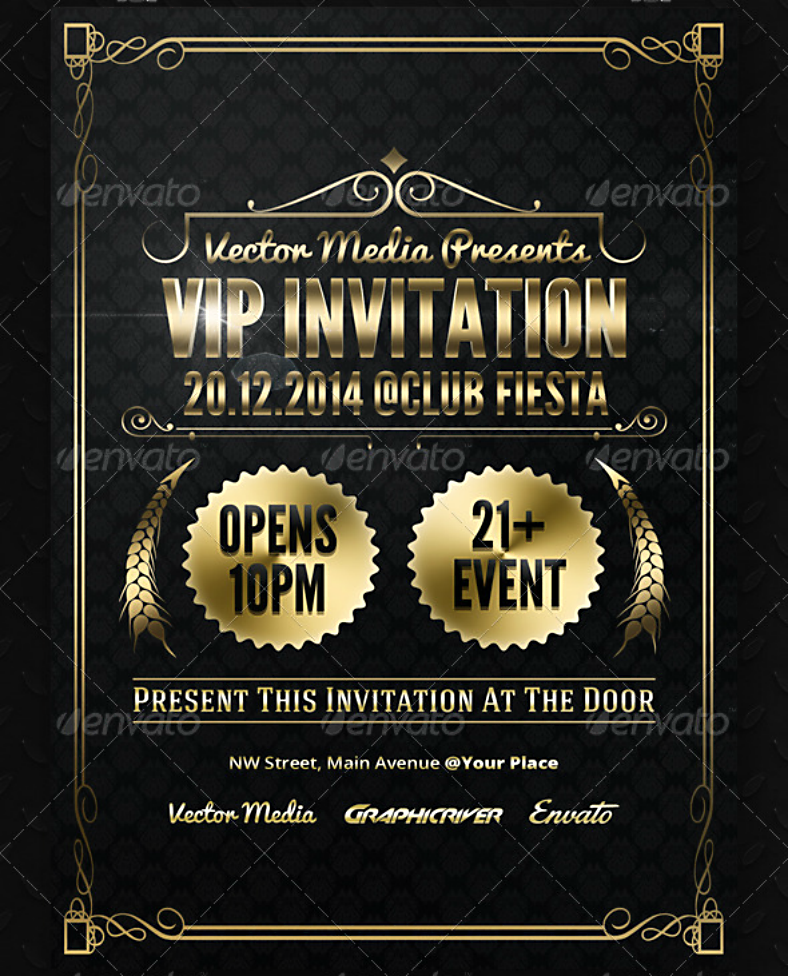 Luxurious Golden VIP Invitation Template