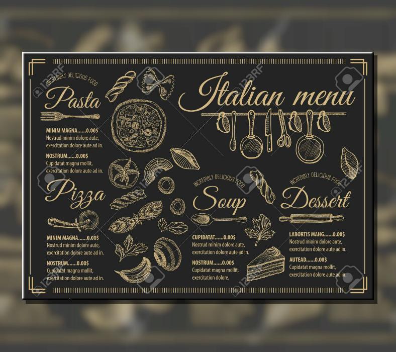 luxurious vintage italian food menu template 788x700