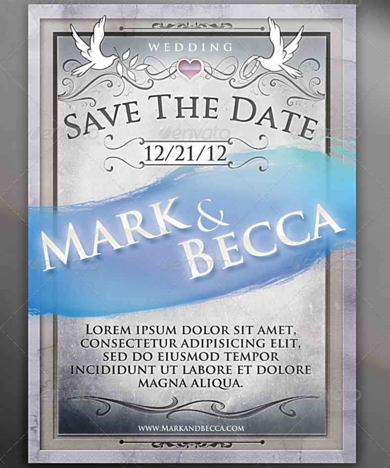 Marble Framed Wedding Announcement Template