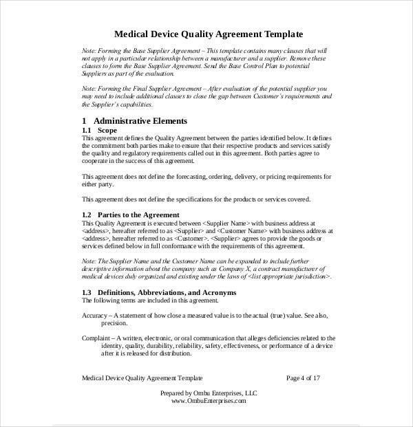 medical quality agreement