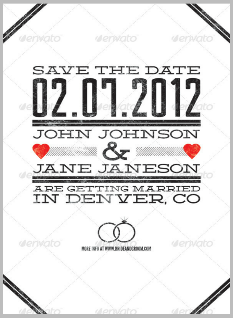 Minimalist Achromatic Wedding Announcement Template