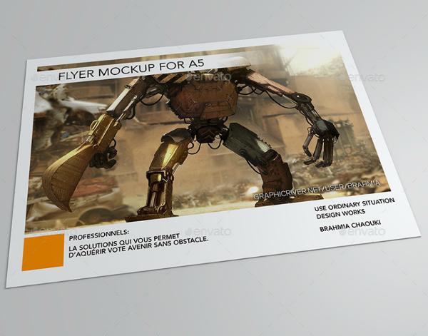 minimalist futuristic robot horizontal flyer template