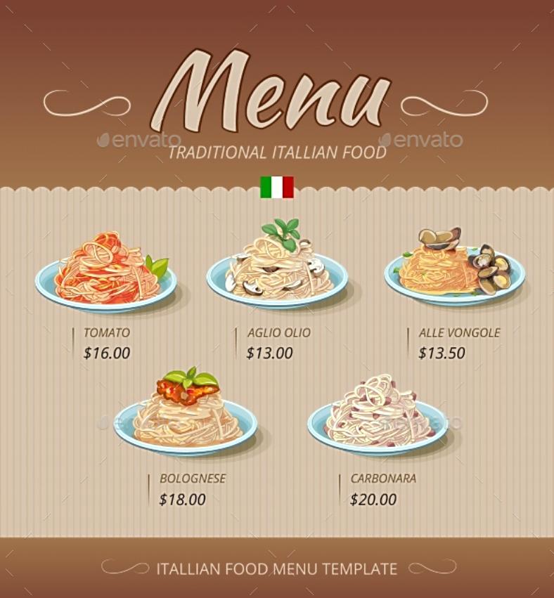 minimalist pasta dishes menu template 788x851