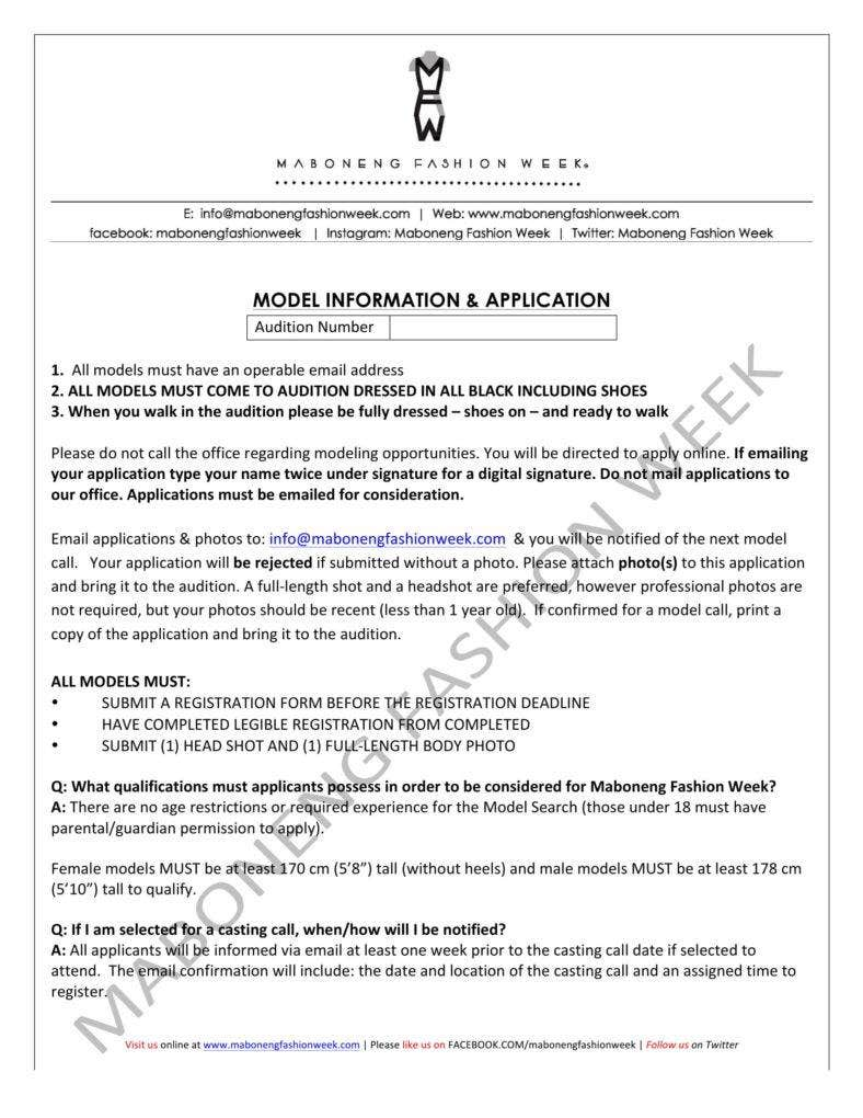 Model Information Lication Form