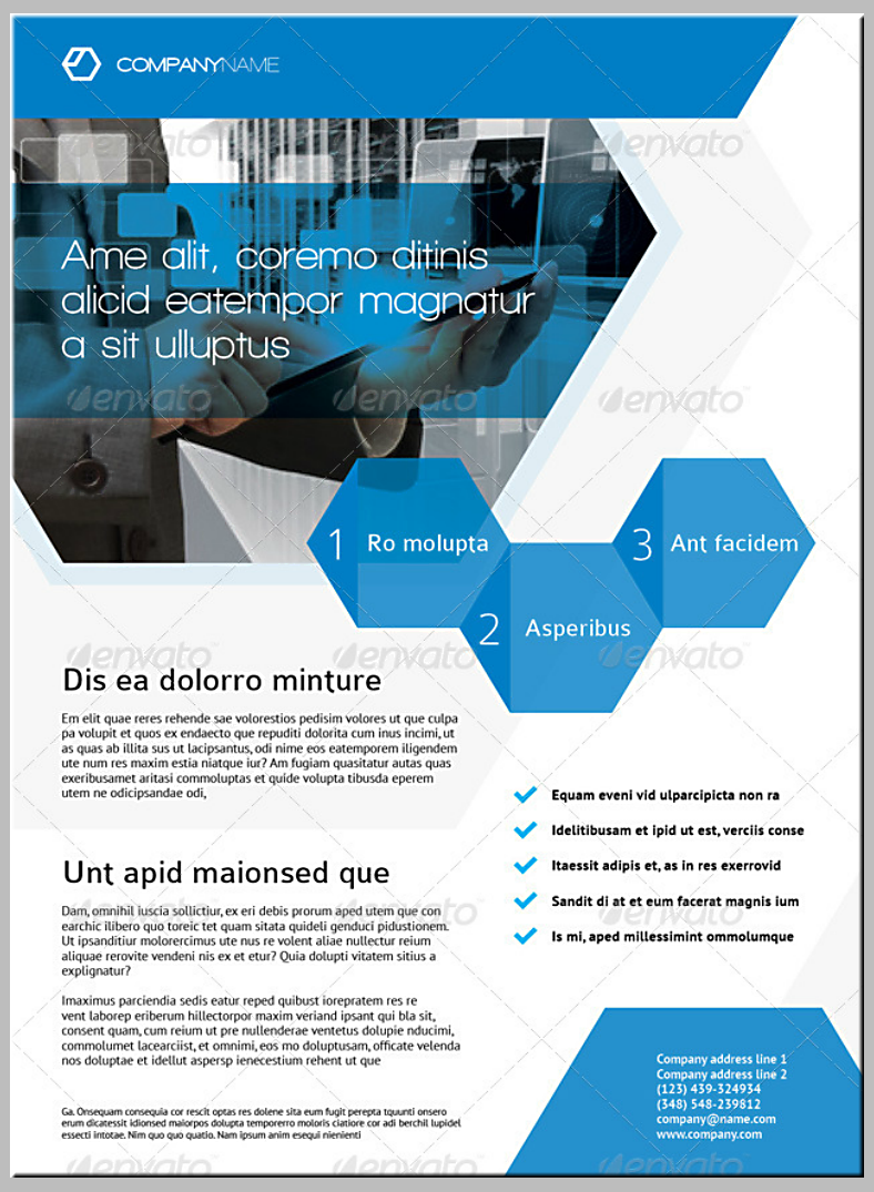 Modern Blue Hexagons Corporate Flyer Template