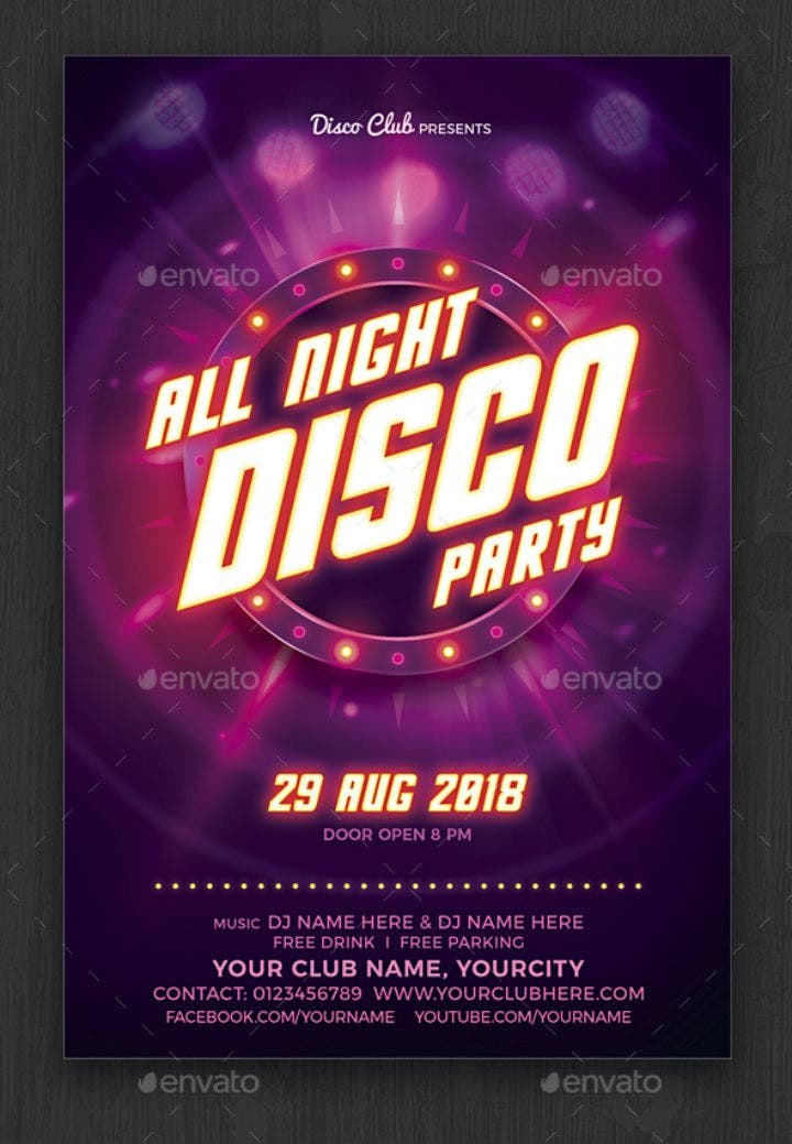 17  disco party invitation designs  u0026 templates